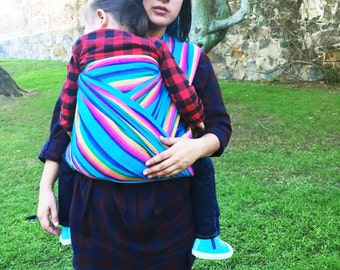 Baby Wrap Carrier Mexican Senka Cyan w rainbow stripes available in 5.0 yards 5.5 yards