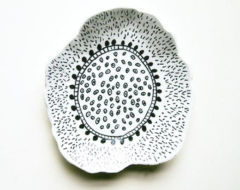 painted plate, clay dish, catch all,  ring dish, jewelry storage, black and white, small dish, modern minimalist