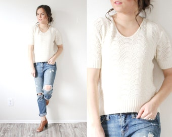 Vintage cream boho short sleeve sweater // knit off white short sleeve grandma sweater // boho blouse // boho sweater top // fall knit top