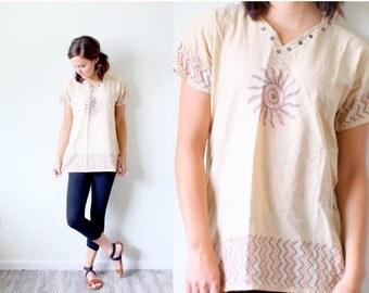 20% OFF VALENTINES SALE Vintage Small // Boho // festival // peach // tan blouse // navajo blouse // aztec top // indian // tribal print