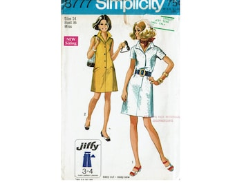 70s Jiffy Simple to Sew UNCUT Sewing Pattern Dress with Collar Simplicity 8777 Size 14 Bust 36 1970s Fashion dresses easy sewing