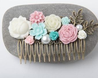 Flower Hair comb, Aqua Blue Pink Ivory hair comb, wedding hair comb, blue and pink wedding hair accessories, bride hair comb, garden wedding