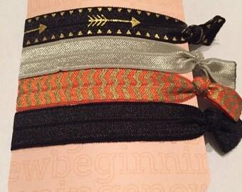 Elastic Hair Ties-Black Arrow & Orange Chevron
