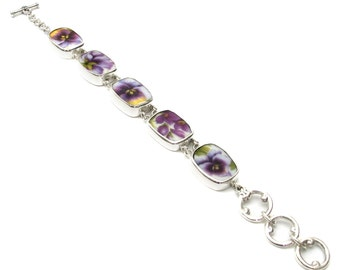 Broken China Jewelry Purple Pansy A Pansies Sterling Bracelet