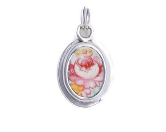 Broken China Jewelry Pink Cabbage Rose Sterling Charm