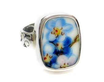 Size 7 Broken China Jewelry Blue Forget Me Not Flowers AJ Sterling Ring