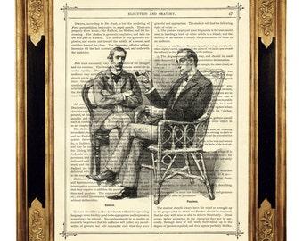Sherlock Holmes & Dr John Watson chatting smoking Pipe - Vintage Victorian Book Page Art Print Steampunk Engraving Arthur Conan Doyle