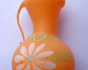 Big orange AMPHORA 1960s Old USSR Glass Vintage New Year Tree Christmas Ornament