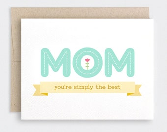 Mothers Day Card - Mint Yellow Mom You're Simply the Best Banner - Best Mom Ever Card, Birthday Card for Mom