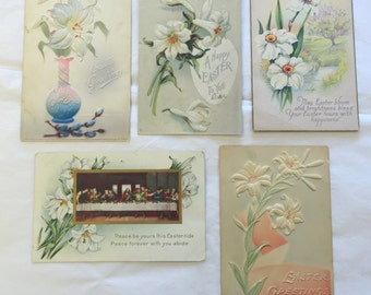 Vintage Easter Postcard Lot 5 Antique Victorian Easter Postcards including an Lily Last Supper Vase Postcard 1-66