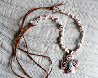 COWGIRL TURQUOISE CROSS Pendant White Magnesite Brown Suede Leather Necklace Faux Turquoise
