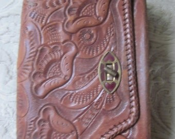 SALE tooled leather clutch purse  most unusual  gorgeous  handbag