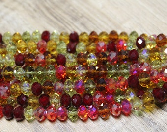 Tiaria Chinese Crystal Designer Glass Rondelle Faceted Beads 8 inch strand mixed beads Autumn Leaves mix 8x5mm