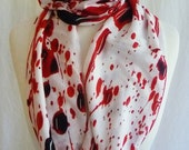 Blood Splatter Scarf, Infinity Scarf By Rooby Lane