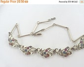 MOVING SALE Half Off Broken but Beautiful Vintage Shabby Chic Worn Colorful  Rhinestone Necklace  for Assemblage