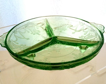 Green Depression Glass Footed and Divided Relish Dish