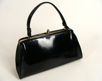 vintage 50s Shiny Black Patent Leather Purse Handbag rockabilly pinup