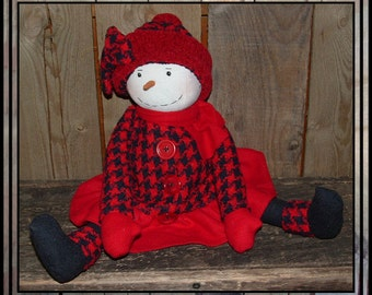 SALE Folk art snow lady snowman cloth doll red wool houndstooth check hand embroidered HAFAIR ofg faap AFTERXMASFAAP