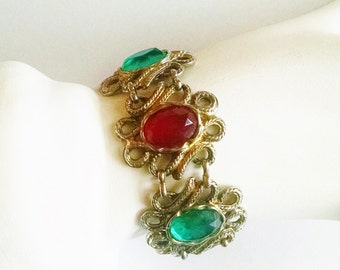 Bracelet Multicolored Glass Stones Vintage Red Green Purple Orange Filigree Chain Silvertone Mother's Day Gift for Her Birthday
