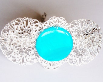 Barrette Silvertone Filigree Turquoise Focal Stone Handmade Hair Accessory Jewelry Wedding Bridal Party Prom Gift for Her