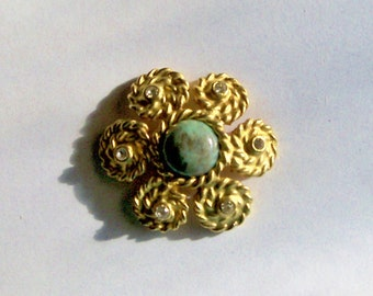 Vintage Brooch Tosca Green African Turquoise Repaired Everyday Christmas Holiday Special Occasion Gift August Birthday Annivers