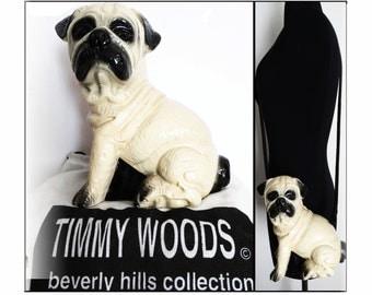 Timmy Woods Handbag//Pug Dog//Shoulder Bag//Dog//Dust Cover//Signed