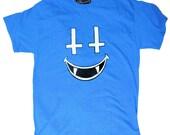 On Sale: Bright Blue SATANIC SMILE Tee Shirt Size Medium / Large