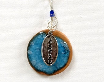 Aromatherapy diffuser pendant for Essential Oils-Stoneware Clay Necklace / Pendant - Blue melted glass, Silver, Namaste, Glass Beads