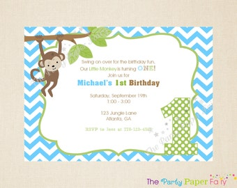 Monkey Birthday Invitation, Boy Birthday Invitation, Monkey Party Invitation, Monkey Party Decorations, 1st Birthday Invitation