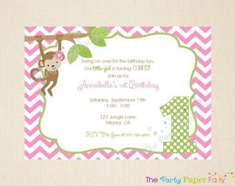 Monkey Birthday Invitation, Girl Birthday Invitation, Monkey Invitation, Monkey Party Decorations, 1st Birthday Invitation