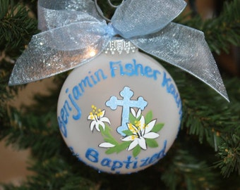 Baptism Blue Cross Custom Ornament - Made to order with white or yellow Lillies