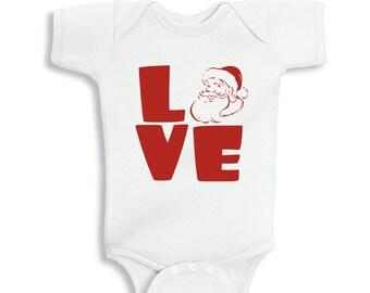 Love Santa Red White baby bodysuit