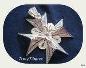 Handmade Sterling Silver Filigree Maltese Cross Pendant  1.75 inch / 4.50cm