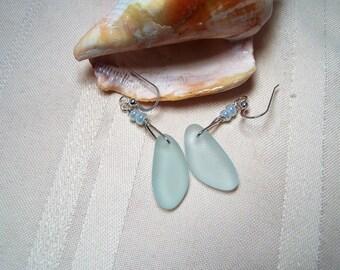 NEW ITEM! Pale Translucent Sea Foam Beach Glass Earrings in Sterling Silver.