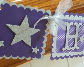 Silver Glitter and Purple Twinkle Twinkle Little Star Birthday Banner, Twinkle Twinkle Little Star Banner,Purple Chevron, Poms Available
