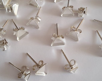 20 Sterling Silver earring ear studs bezel triangle bead & pearl cup blank Sizes
