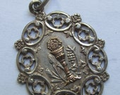 Antique Religious Medal French Silver Gold Holy Communion Catholic Pendant   SS187