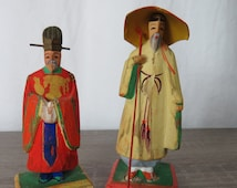 Vintage Hand Carved and Painted Chinese Elders Statues  Box B