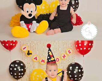 Mickey Mouse 1st Birthday Pom Poms, Photo Shoot Poms, Baby Boy Picture Props, Birthday Backdrop, Dessert Table Decor, Photo Shoot Backdrop