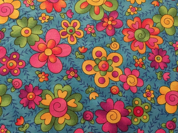 Hoffman fabrics giggles 4368 blue floral bright for Bright childrens fabric