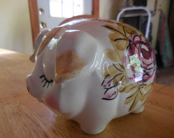 Vintage 1950s to 1960s Piggy Bank Pig No Plug Pink Flowers Made in Japan Ceramic Childs Collectible