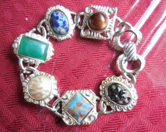 Vintage 1950s to 1970s Silver Tone Faux Stone Bracelet Sarah Coventry Chunky Thick Green/Blue/Pearl/Brown