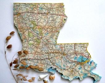 LOUISIANA Vintage State Map Wall Art (Small size)