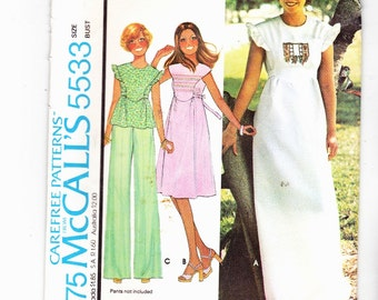 McCalls 5533 Maxi Dress, Top, Knee Length Dress Hippie, Chic Clothes Uncut Pattern 70's Size 7 Tween Bust 31""