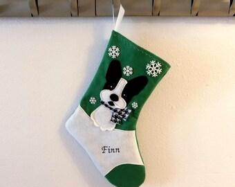 French Bulldog Dog Personalized Christmas Stocking by Allenbrite Studio