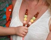 FLASH SALE Button Nursing Necklace - avocado, peach & vanilla yellow - apple wood