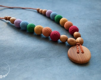 Double Earthy Rainbow Teething Necklace for Mom / Breastfeeding Mama & Babywearing Accessories - KangarooCare Europe