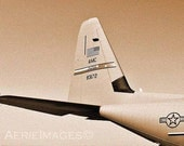 Tail Beauty, Air Force C130 Military Aircraft Modern Model Tail Section Detail, Sepia Photo 5x7 or 8x10