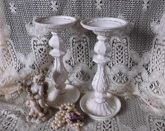 Shabby white ornate metal candle holders, painted Vintage