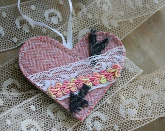 VALENTINE Heart Ornament, Vintage lace, Recycled